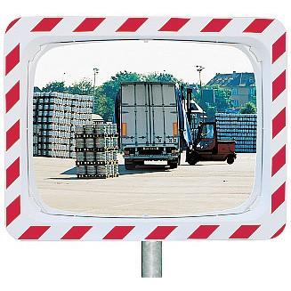 Espejos de Tráfico Vialux con Marco Rojo y Blanco de Acero Inoxidable