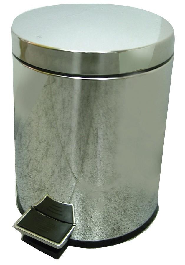 Papelera de baño en acero inoxidable brillo, 5 litros