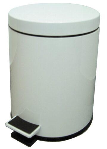 Papelera de baño en acero pintado blanco, 5 litros