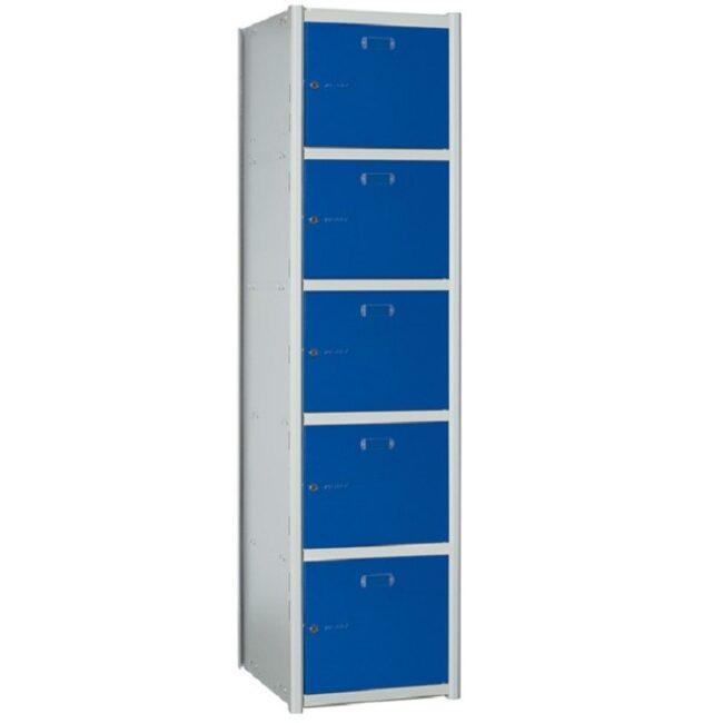 Taquilla metálica modular de 5 puertas AP, 1 columna