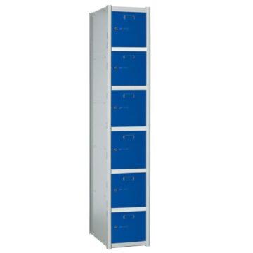 Taquilla metálica modular de 6 puertas AB, 1 columna