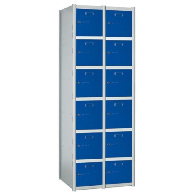 Taquilla metálica modular de 6 puertas AB, 2 columnas