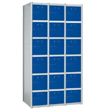 Taquilla metálica modular de 6 puertas AB, 3 columnas