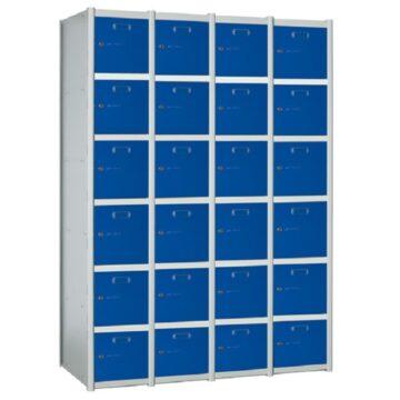 Taquilla metálica modular de 6 puertas AB, 4 columnas