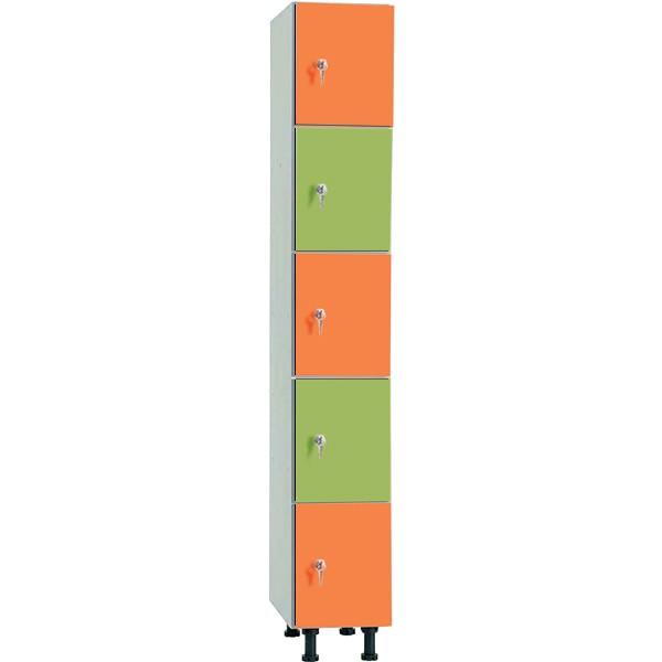 Taquillas en melamina hidrófuga y puertas fenólicas de 5 puertas por columna MHFP