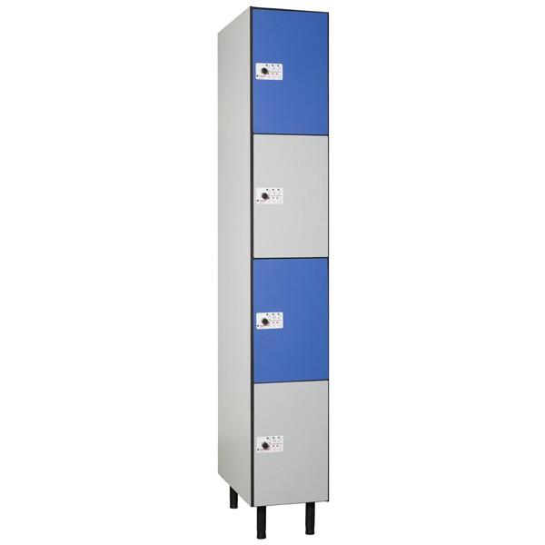 Taquillas en compacmel plus y puertas fenólicas de 4 puertas por columna CC