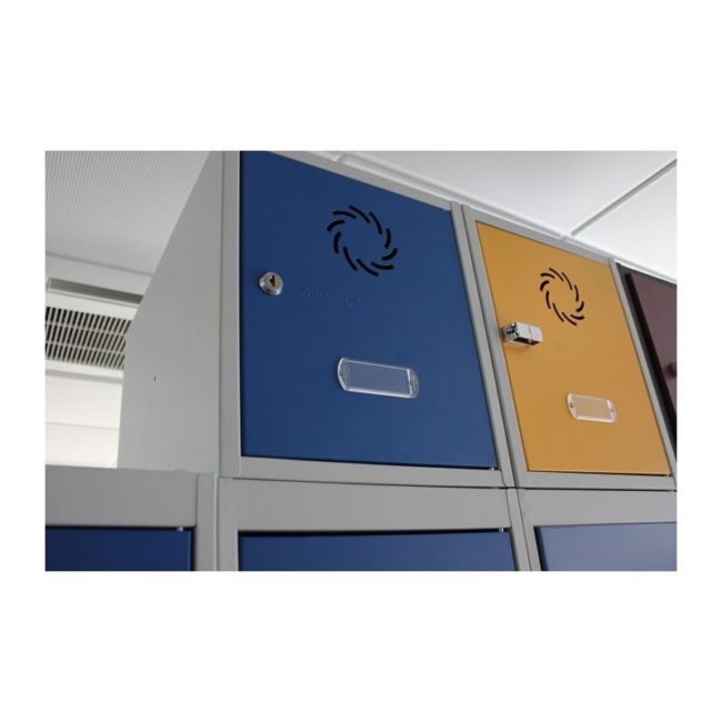 Taquilla metálica modular de 8 puertas AZ, 3 columnas