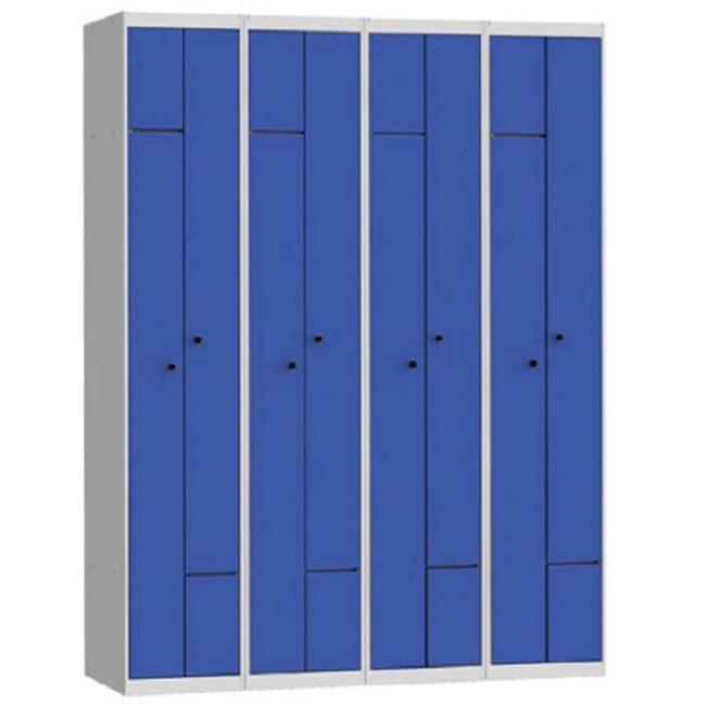 Taquilla metálica modular de 2 puertas en L AL, 4 columnas