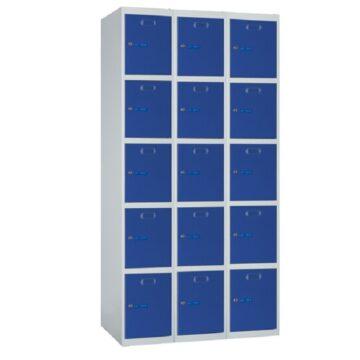 Taquilla metálica modular de 5 puertas ECOP, 3 columnas