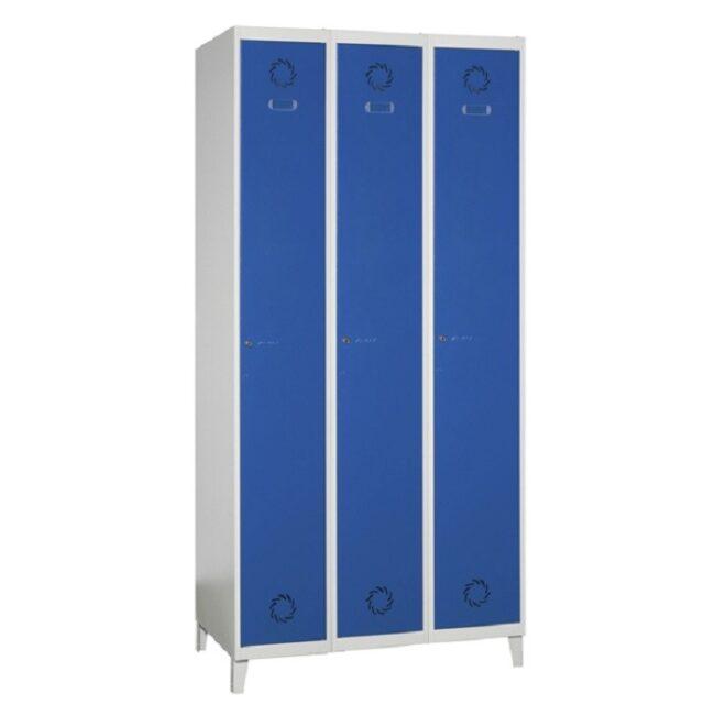 Taquilla soldada monoblok de 1 puerta SV, 3 columnas