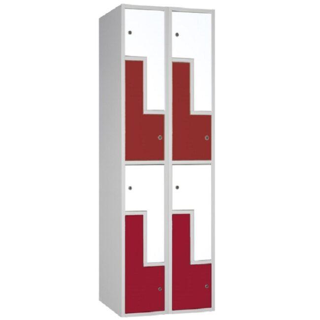 "Taquilla soldada monoblok de puertas en ""L"" SL, 2 columnas"