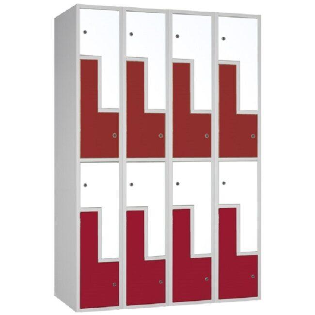 "Taquilla soldada monoblok de puertas en ""L"" SL, 4 columnas"