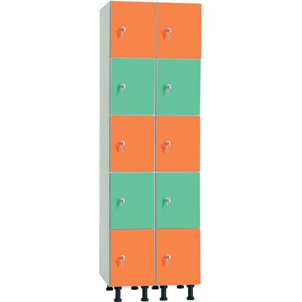 Taquilla en melamina de 5 puertas MP, 2 columnas