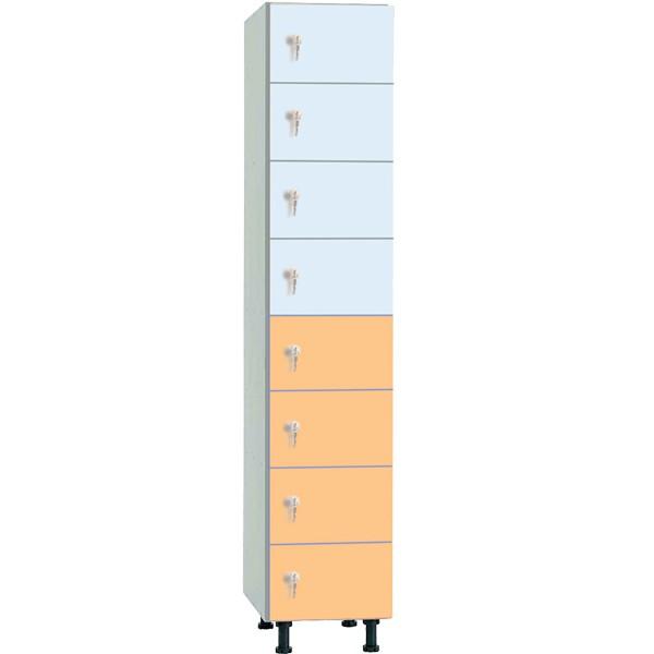 Taquilla en melamina de 8 puertas MZ, 1 columna