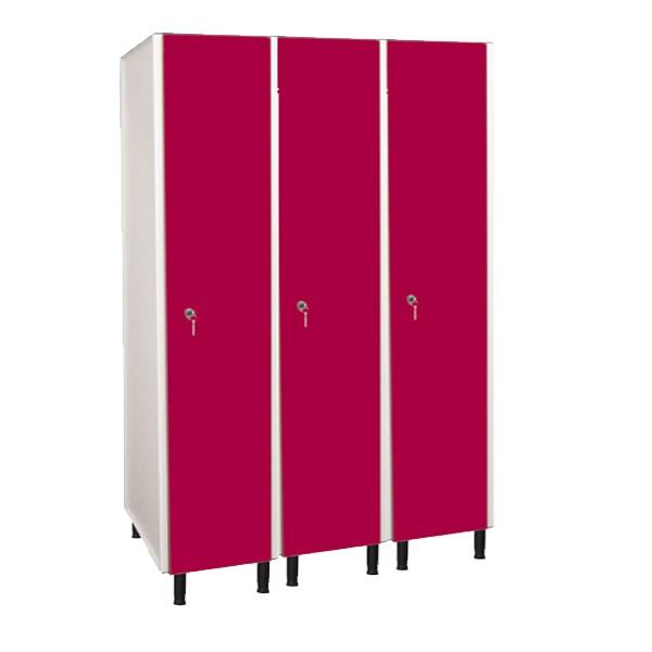 Taquilla fenólica con perfilería de 1 puerta FVP, 3 columnas