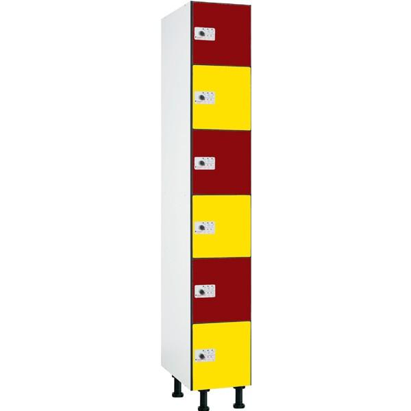 Taquilla fenólica con perfilería de 6 puertas FBP, 1 columna