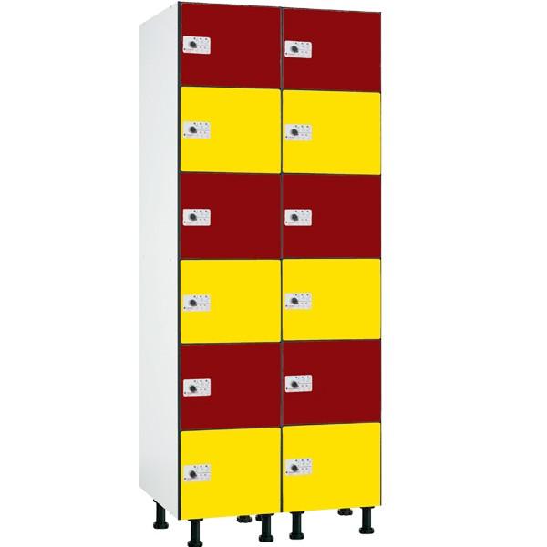 Taquilla fenólica con perfilería de 6 puertas FBP, 2 columnas