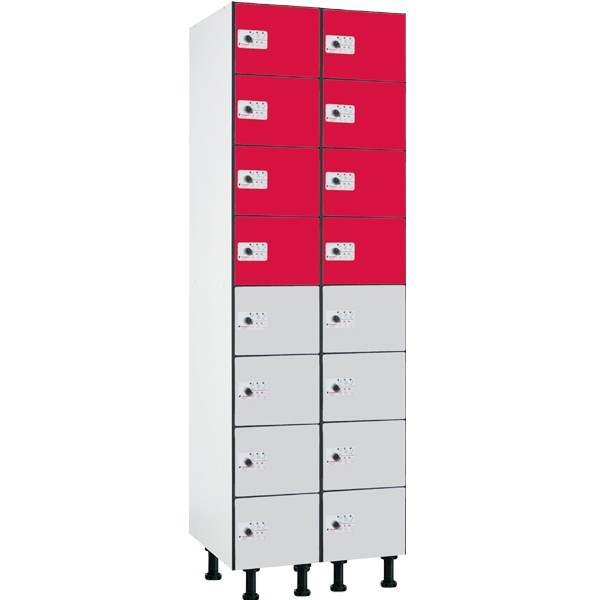 Taquilla fenólica con perfilería de 8 puertas FZP, 2 columnas