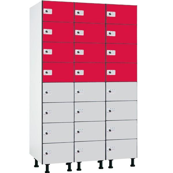 Taquilla fenólica con perfilería de 8 puertas FZP, 3 columnas