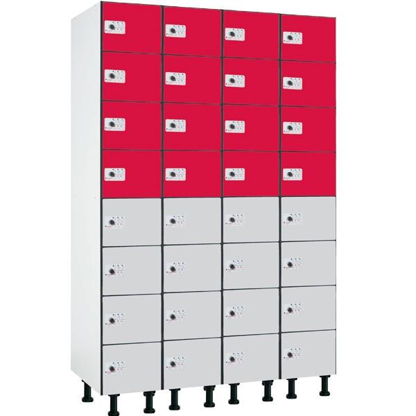 Taquilla fenólica con perfilería de 8 puertas FZP, 4 columnas