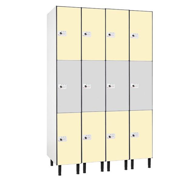 Taquilla en compacmel y puertas fenólicas de 3 puertas CM, 4 columnas