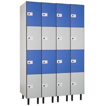 Taquilla en compacmel y puertas fenólicas de 4 puertas CC, 4 columnas