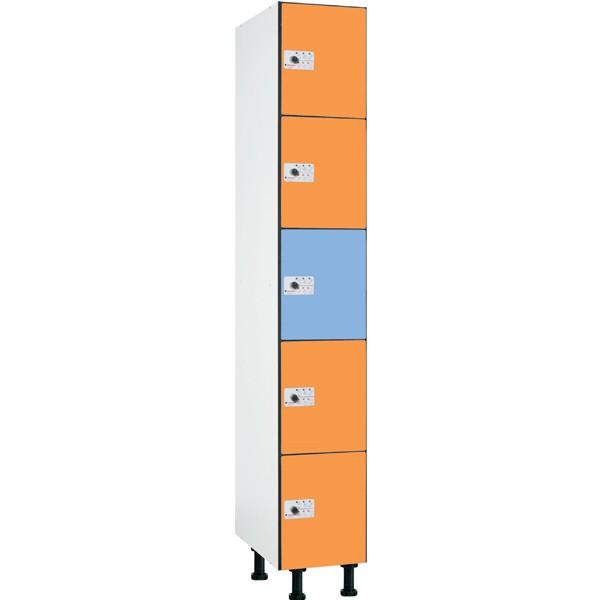 Taquilla en compacmel y puertas fenólicas de 5 puertas CP, 1 columna