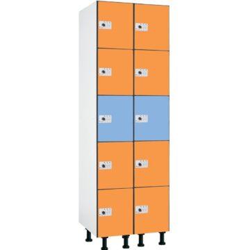 Taquilla en compacmel y puertas fenólicas de 5 puertas CP, 2 columnas