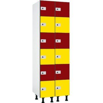 Taquilla en compacmel y puertas fenólicas de 6 puertas CB, 2 columnas