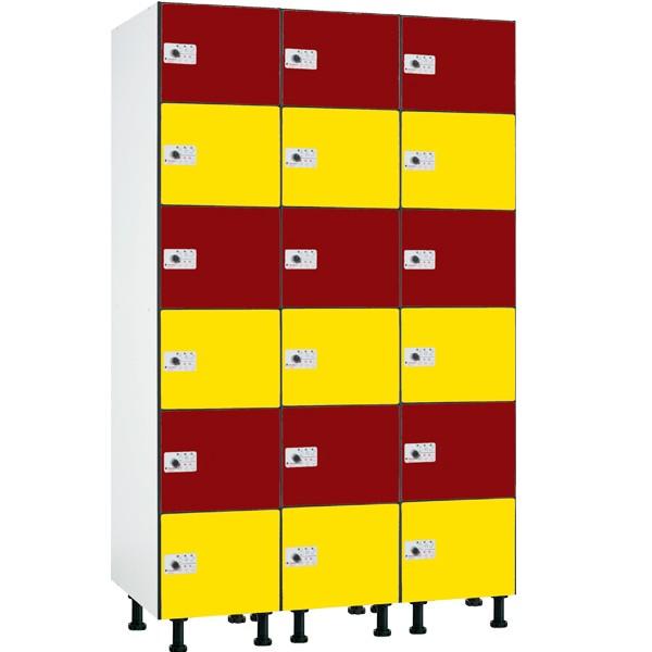 Taquilla en compacmel y puertas fenólicas de 6 puertas CB, 3 columnas