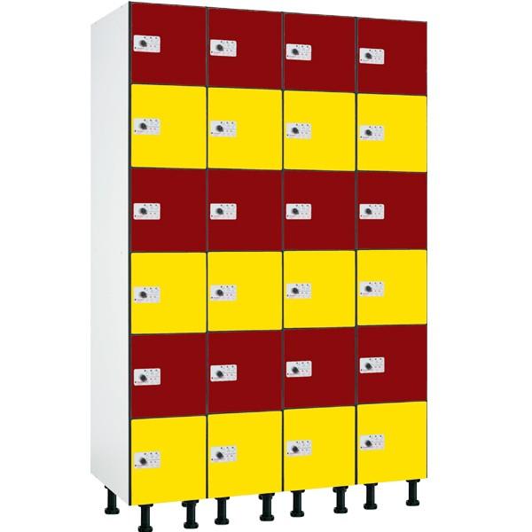 Taquilla en compacmel y puertas fenólicas de 6 puertas CB, 4 columnas