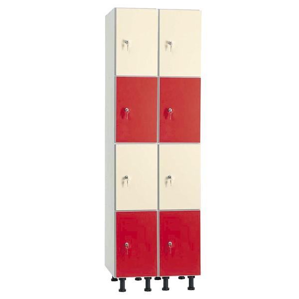 Taquilla en melamina hidrófuga y puertas fenólicas de 4 puertas MHFC, 2 columnas
