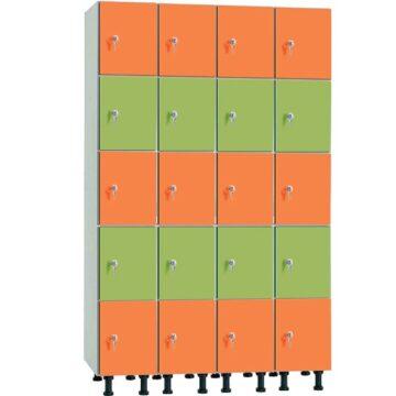 Taquilla en melamina hidrófuga y puertas fenólicas de 5 puertas MHFP, 4 columnas